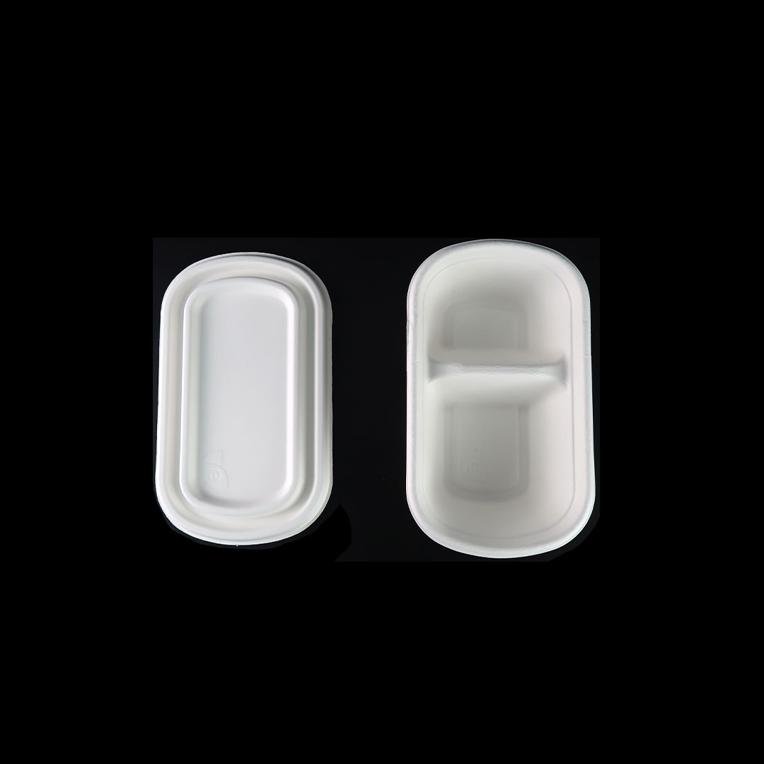 B047—750ml-Bagasse-2-Compartment-Container